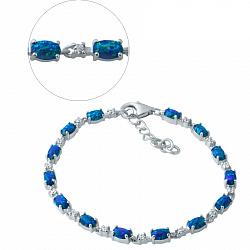 Серебряный браслет Ивонна с синими опалами и белыми фианитами 000076287