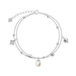 Серебряный браслет с жемчугом и фианитами 000149054