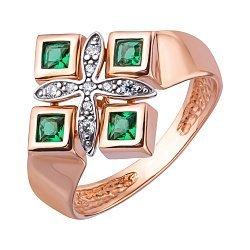 Золотое кольцо в комбинированном цвете с гидротермальным изумрудом и фианитами 000147931