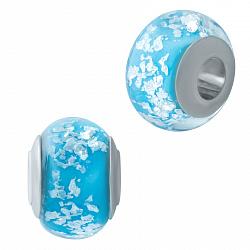 Серебряный шарм Сабира с голубым муранским стеклом