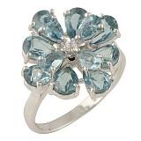 Серебряное кольцо Лаурина с синтезированным топазом лондон и цирконием