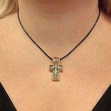 Серебряный крестик Господняя защита с чернением и позолотой