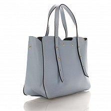 Кожаная деловая сумка Genuine Leather 8920 голубого цвета с фигурными краями и мелкими заклепками