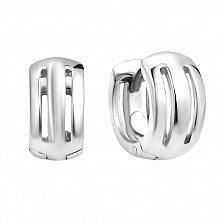 Серебряные широкие серьги-конго Осанна с прорезями-полосками