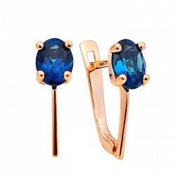 Серьги из красного золота Мальвина с синим топазом лондон