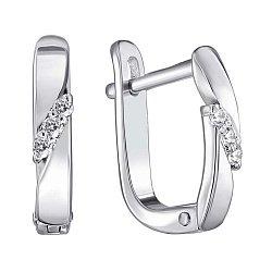 Серебряные серьги с бриллиантами 000123346
