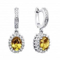Серебряные серьги-подвески с желтым хризолитом и фианитами 000134867