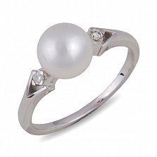 Кольцо Нежность из белого золота с бриллиантами и жемчугом