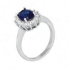 Серебряное кольцо с синим фианитом Катарина