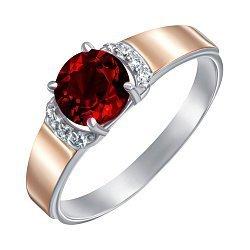 Серебряное кольцо с золотыми накладками,гранатом и фианитами 000134969