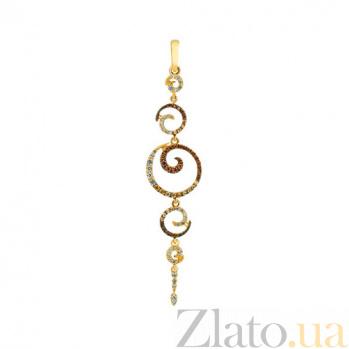 Золотая подвеска с цирконием Грация VLT--ТТТ3430