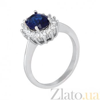 Серебряное кольцо с синим фианитом Катарина 000028363