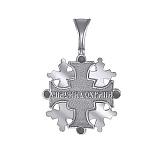 Серебряный фрактальный крест Многогранность с золотыми вставками