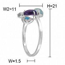 Золотое кольцо с халцедоном, агатом, топазом, аметистом и бриллиантами Свежесть