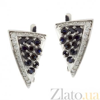 Серебряные серьги с цирконием и сапфирами Косынка ZMX--ECzS-6127-Ag_K