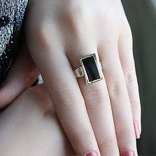 Серебряное кольцо Астра с ониксом и золотом