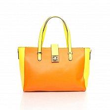 Кожаная деловая сумка Genuine Leather 8949 оранжевого цвета с желтыми вставками