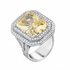Золотое кольцо Вирджиния с цитрином и бриллиантами