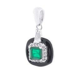 Серебряный кулон Бренда с зеленым кварцем, фианитами и черной эмалью