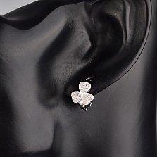 Серебряные серьги Трехлистный клевер с белыми фианитами