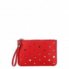 Кожаный клатч Genuine Leather 1536 красного цвета с перфорацией и короткой ручкой для запястья