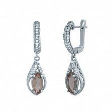 Серебряные серьги-подвески Эрин с корундом и белыми фианитами