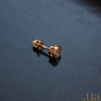 Золотые серьги с фианитами Яркое мгновение 000024268