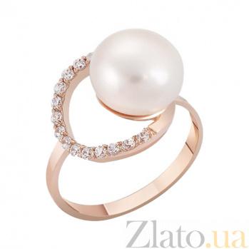 Кольцо из красного золота с жемчугом и фианитами Морская фея 000023207