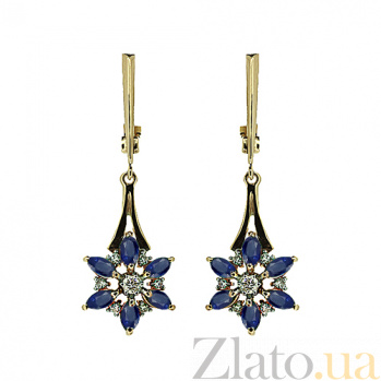Золотые серьги с бриллиантами и сапфирами Мила ZMX--EDS-5574_K