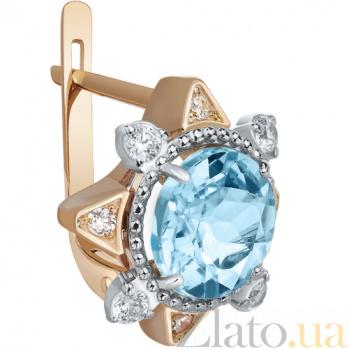 Золотые серьги с голубым топазом Оливия AUR--32796 02