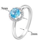 Кольцо в белом золоте Аверс с голубым топазом и фианитами