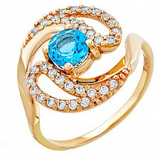 Золотое кольцо Время с топазом и фианитами