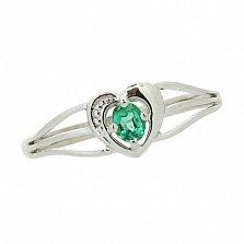 Серебряное кольцо с изумрудом Марта