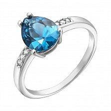 Серебряное кольцо Илона с кварцем london blue и фианитами