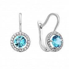 Серебряные серьги Марина с голубым и белыми фианитами