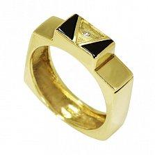 Золотой перстень-печатка Дворец фараона в желтом цвете с фианитом и черной эмалью