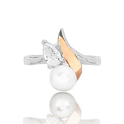 Серебряное кольцо Нелли с вставкой золота, жемчугом и фианитом