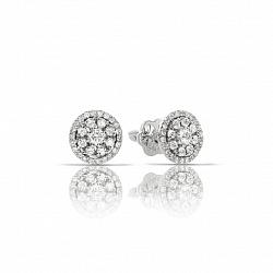 Золотые серьги-пуссеты Майорка в белом цвете с цветочками из бриллиантов
