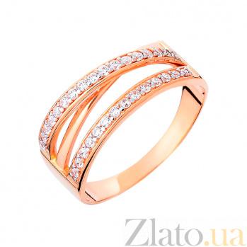Золотое кольцо с фианитами Интрига вечера SUF--140532