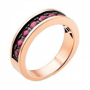 Кольцо из красного золота с рубинами и черным родием 000137744