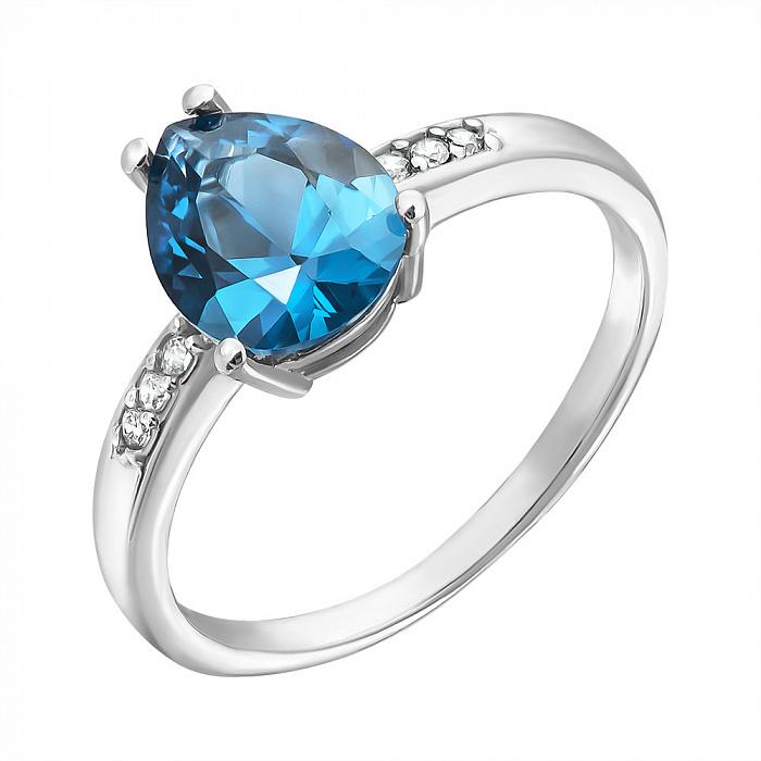 Серебряное кольцо Илона с кварцем london blue и фианитами 000063223