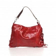 Кожаный клатч Genuine Leather 8466 красного цвета с бахромой и короткой ручкой