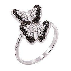 Золотое кольцо в белом цвете Две бабочки с фианитами