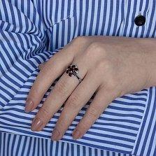 Серебряное кольцо Серсея с гранатом и фианитами