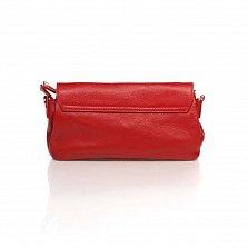 Кожаный клатч Genuine Leather 1507 красного цвета с плечевым ремнем