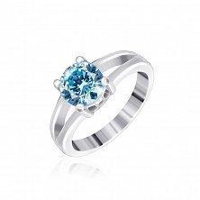 Серебряное кольцо Мелита с фианитом цвета голубого топаза