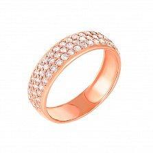 Золотое кольцо Солнечный дождь в красном цвете с усыпкой из фианитов