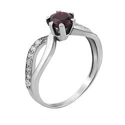 Серебряное кольцо Дина с узорной шинкой, рубином и фианитами