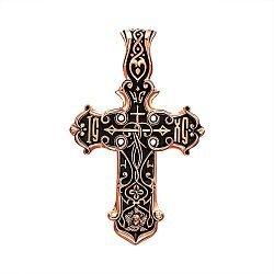 Крест из красного золота с чернением 000135318