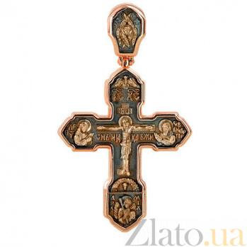 Золотой крестик с черным родием Крещение VLT--КС3013-3